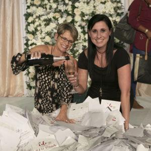 Linda and winner champagne